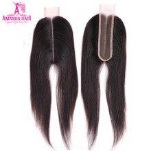 Amanda cabelo liso, cabelo médio com fecho de 2*6 polegadas, com cabelo novo remy brasileiro renda suíça 1 peça