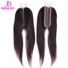 Hair Lace Closure Middle-Part 1-Piece Swiss Straight Amanda Brazilian with Remy Kim K-Clsoure