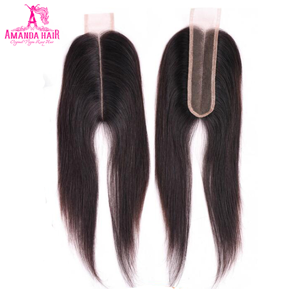 Amanda Kim K 100% Straight Hair Lace Closure 2*6 Inch With Baby Hair Brazilian Human Hair Swiss Lace Middle Part Remy 1 Piece