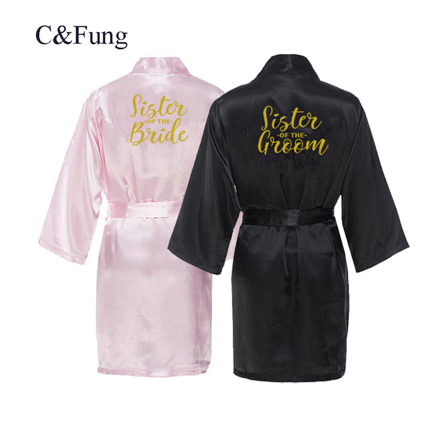 279fb5cb41 C Fung personalised robes sister of the bride Bridal Party Robes sister of  the groom gold letters