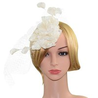 Fashion Ladies Beige Flower Mesh Hair Clip Hat Hairpin Party Headpiece Photography Props Fancy Accessory