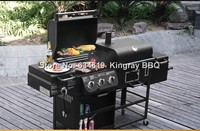 Dual use villas garden home gas and charcoal bbq grill extra large mobile chicken cooking barbecue grill machine with trolley