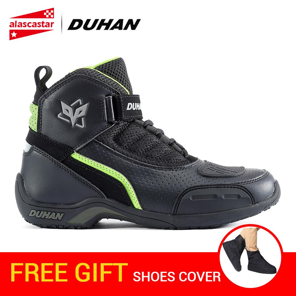 DUHAN Motorcycle Boots Men Summer Breathable Moto Boots Leather Motocross Off-Road Racing Boots Motorbike Riding Moto Shoes arcx motorcycle boots off road racing shoes men leather moto boots motocross boots street moto touring riding motorcycle shoes