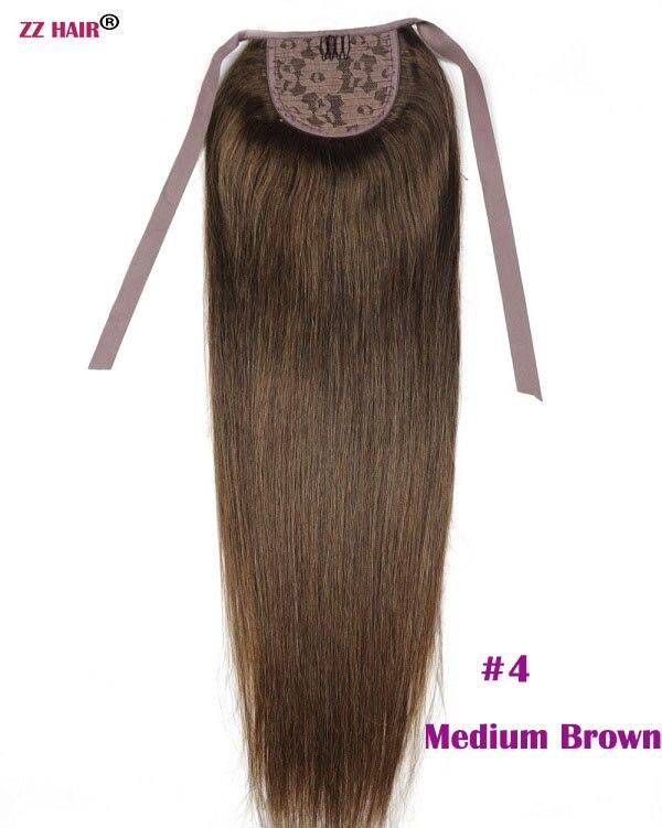 """ZZHAIR 80 г 1""""-24"""" машинное производство remy волосы лента Конский хвост на заколках человеческие волосы для наращивания конский хвост Натуральные Прямые Волосы - Цвет: #4"""