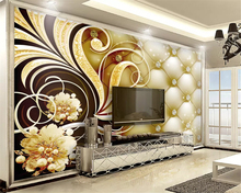 beibehang Customized eco-stereo 3d wallpaper luxury gold jewelry flower classic TV background papel de parede papier peint