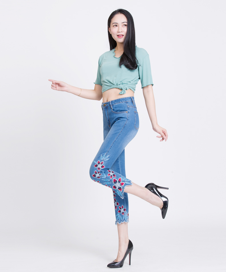 KSTUN FERZIGE Summer Jeans Women Embroidery High Waist Stretch Floral Push Up Skinny Slim Fit Pencils Calf-Length Pants Light Blue 36 14