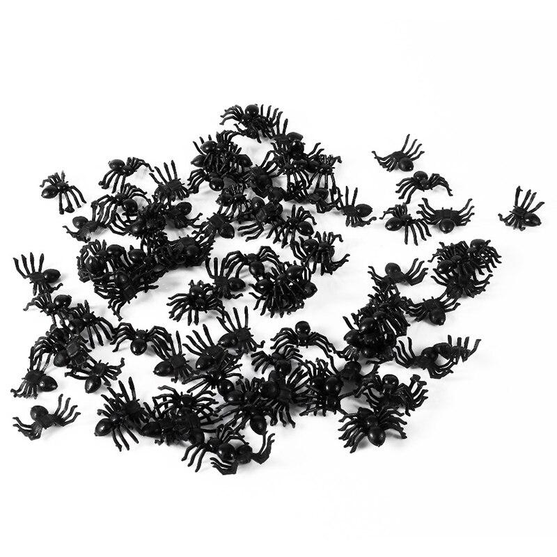 20/50/100 pcs 21*14mm Halloween Decoration Black Plastic Spider Black Fake Spiders Halloween Funny Joke Prank Realistic Props