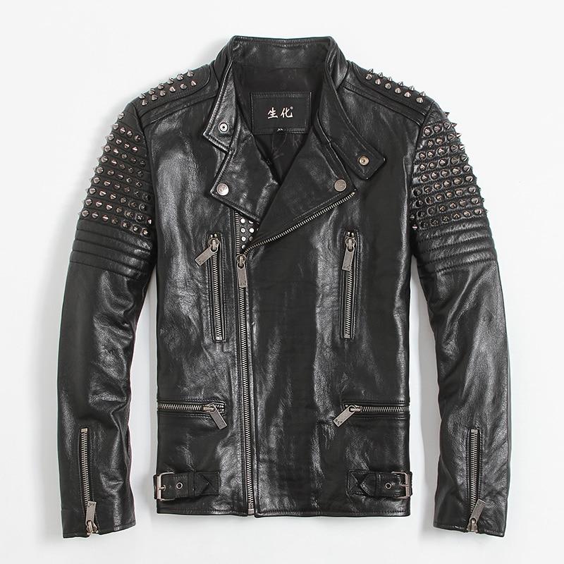 2017 New font b Mens b font Black Rivet Leather Biker font b Jacket b font