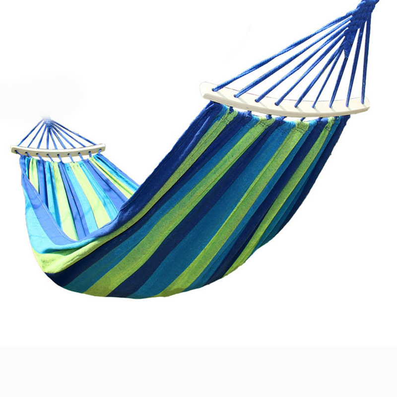 Outdoor Leisure Hammock Swing Canvas Stripe Hang Bed Hammocks for Travel Camping 99 Best Price 2016 profession canvas hammock outdoor double hammocks camping hunting leisure travel by walking portable bed 0016