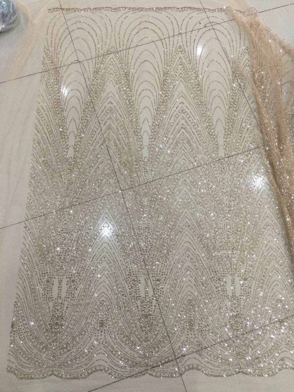 Favorable CGL 112501 African tulle lace fabrics high quality for wedding with glitter
