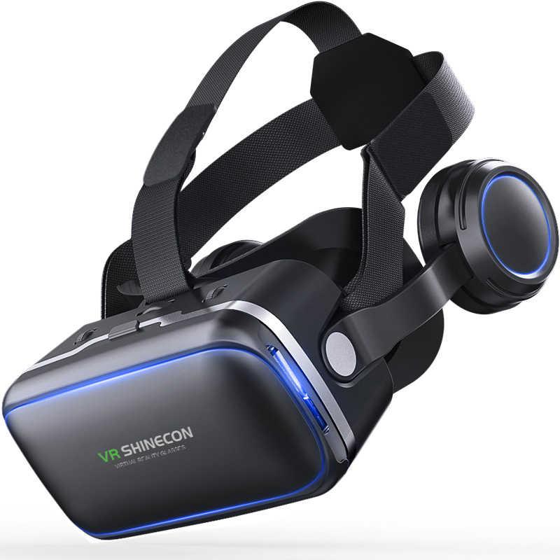 Casque Stereo Shinecon Vr Kotak Virtual Reality Kacamata 3D VR Kacamata Headset Helm untuk Smartphone Smart Ponsel Karton Google
