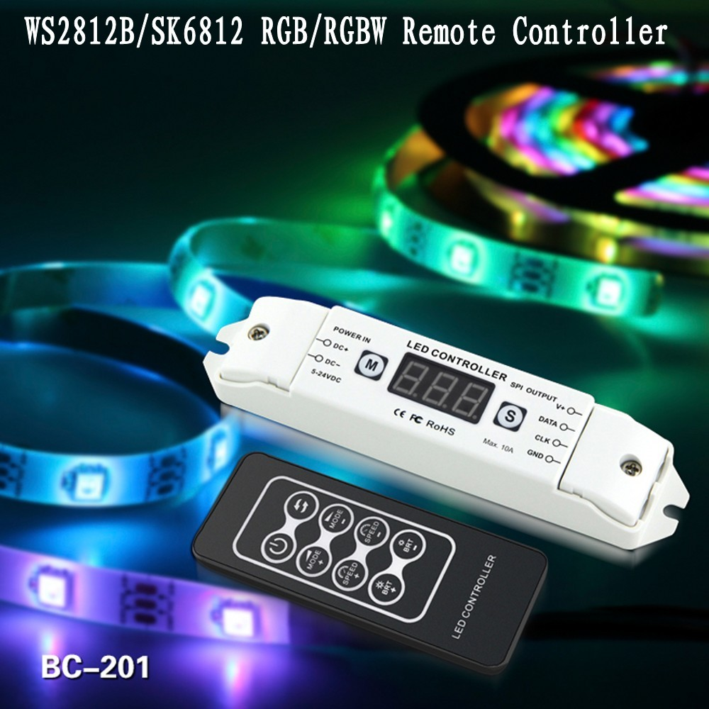 BC 201 SK6812 RGBW Led Controller RGB WS2812B WS2811 WS2801 LPD6803 LPD8806 LED Pixel Controller With RF Remote DC5V 24V