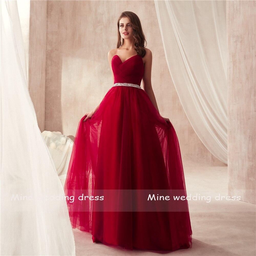 Elegant Burgundy Tulle Prom Dress Women for Wedding Party Sweetheart Ruched Bodice Beading Sash Long Dresses Evening Dresses