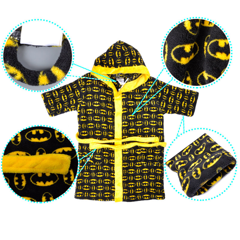 f15a0f984 Boys Robe With Hood Super Soft Coral Fleece Printed Cartoon ...