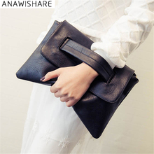 ANAWISHARE Women Leather Handbags Day Clutches Bags Black Crossbody Bags Ladies Envelope Evening Party Bags