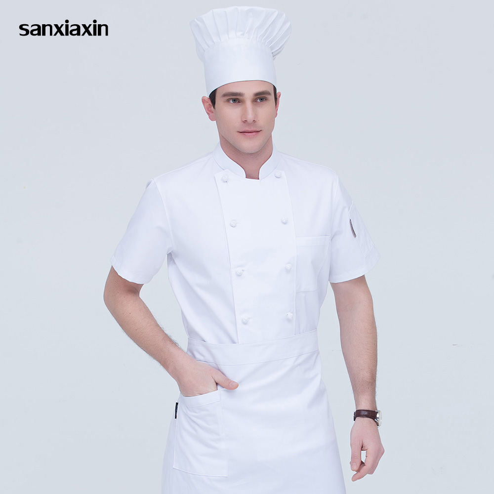 Sanxiaxin High Quality Chef Uniform Double-breasted Hotel Catering Kitchen Restaurant M-4XLwaitress Shirt White Chef Jacket Wome