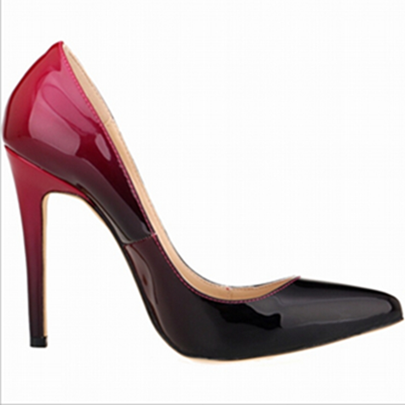 2016 brand high heels patent leather font b women b font pumps pointed toe sexy ladies
