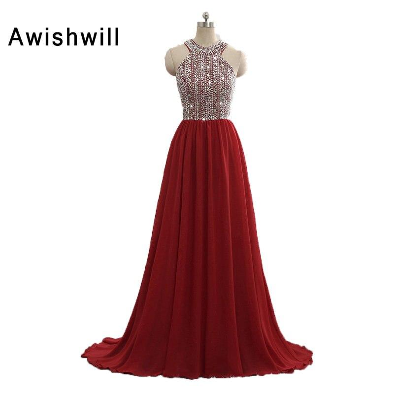 Nouveauté robe de soirée bordeaux sans manches perles brillantes en mousseline de soie robe d'occasion spéciale longues robes de bal robe de noël - 2