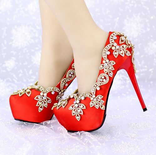 Red Matte Pu High Heels Pumps Shoes Women Formal Dress Shoes Round