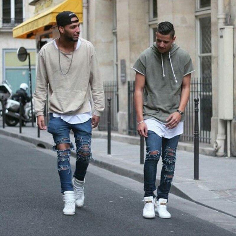 KANYE t-shirt hip hop streetwear doré côté fermeture éclair prolongée t shirt à capuche t-shirts hauts swag vêtements kanye west vêtements M-2XL
