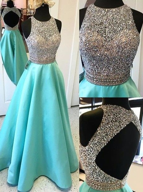 <font><b>2018</b></font> <font><b>Sexy</b></font> Open Back Turquoise Crop Top <font><b>Prom</b></font> <font><b>Dresses</b></font> <font><b>Long</b></font> Heavily Beaded Bodice Girls Sparkly Satin Evening Gowns Fast Shipping image