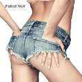PADAUNGY Mulheres Cintura Alta Jeans Sexy Buraco Boyfriend Jeans Rasgado Shorts Jeans Verão Borla Calças Curtas Calças Vaqueros Mujer