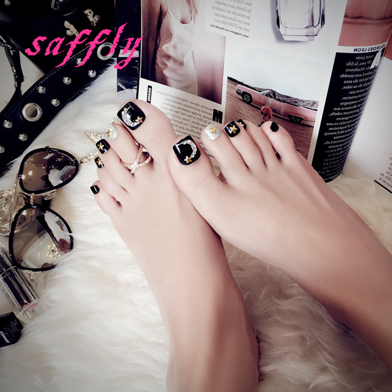 Buy fake toenails black and get free shipping on AliExpress.com