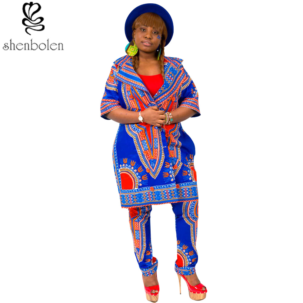 8b53df5ee79a spring autumn summer 2016 African dresses for women dashiki wax batik  printing cotton 2 pieces short sleeve coat+long pants suit-in Africa  Clothing from ...