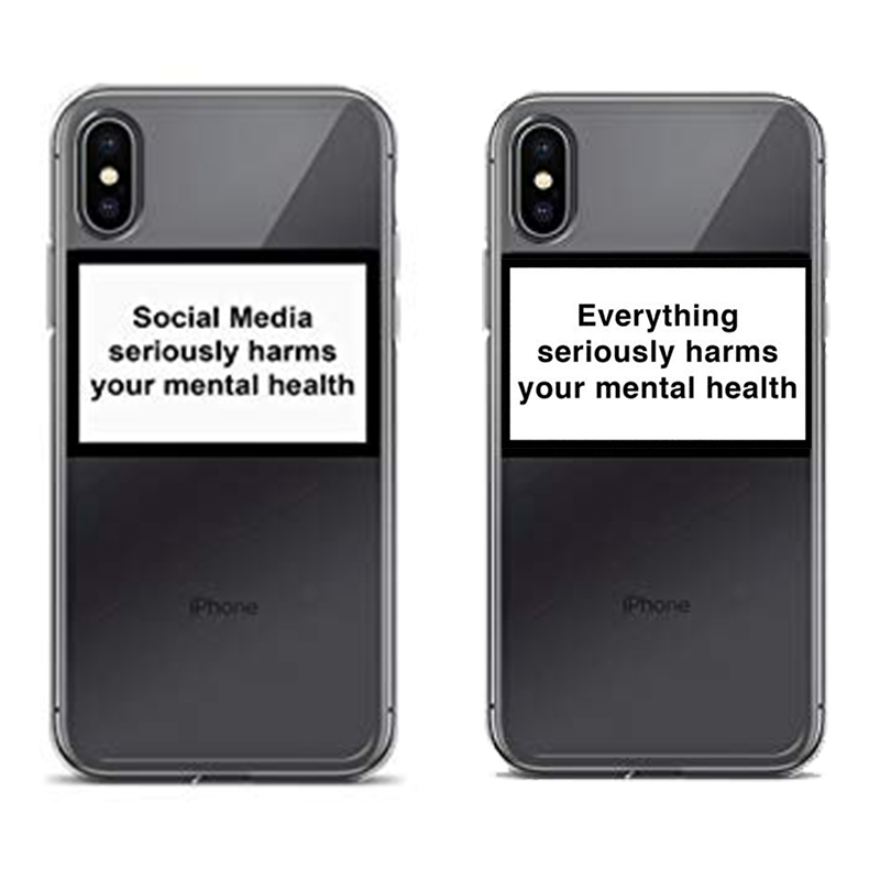 US $1 58 34% OFF|Social Media seriously harms your mental health phone case  for iPhone X XR XS MAX 8 7 6 6s plus Soft Silicone Back Cover Capa-in
