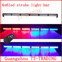 Wireless control Car Strobe Light bar 36 LED Police warning Lights emergency strobe lights DC 12V 35inch red blue white amber