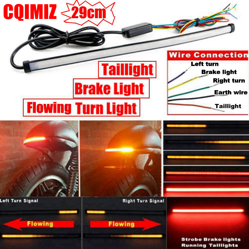 290mm Motorcycle Sequential Running Brake Tail Light Turn Signal Integrated LED Stop Light Strip
