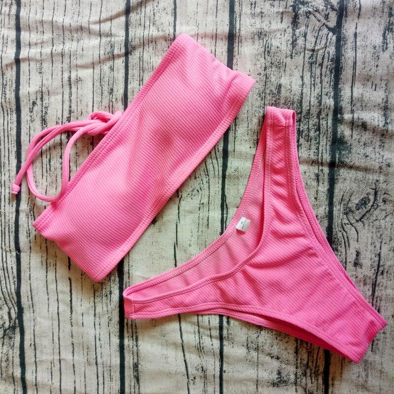 2019 Solid Bikini Brazillian Swimsuit Women Bikini Set Sexy Off Shoulder Swimwear Female Swimming Biquini Maillot De Bain Femme