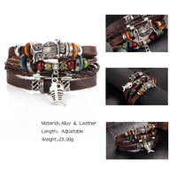 17KM Punk Design Turkish Eye Bracelets For Men Woman New Fashion Wristband Female Owl Leather Bracelet Stone Vintage Jewelry 4