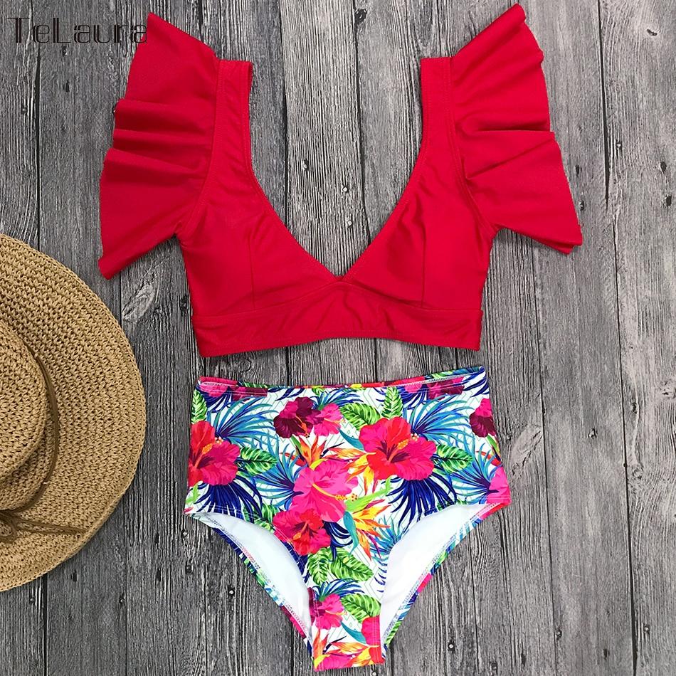 Ruffle High Waist Bikini 2019 Swimwear Women Swimsuit Push Up Bikinis Women Biquini Print Swimsuit Female Beachwear Bathing Suit