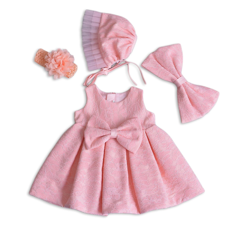 Baby Girls' Newborn Lace Flower Bowknot Christening Dresses Gauze Infant Girls Baptism Wedding Dress 4 Piece Deluxe Set