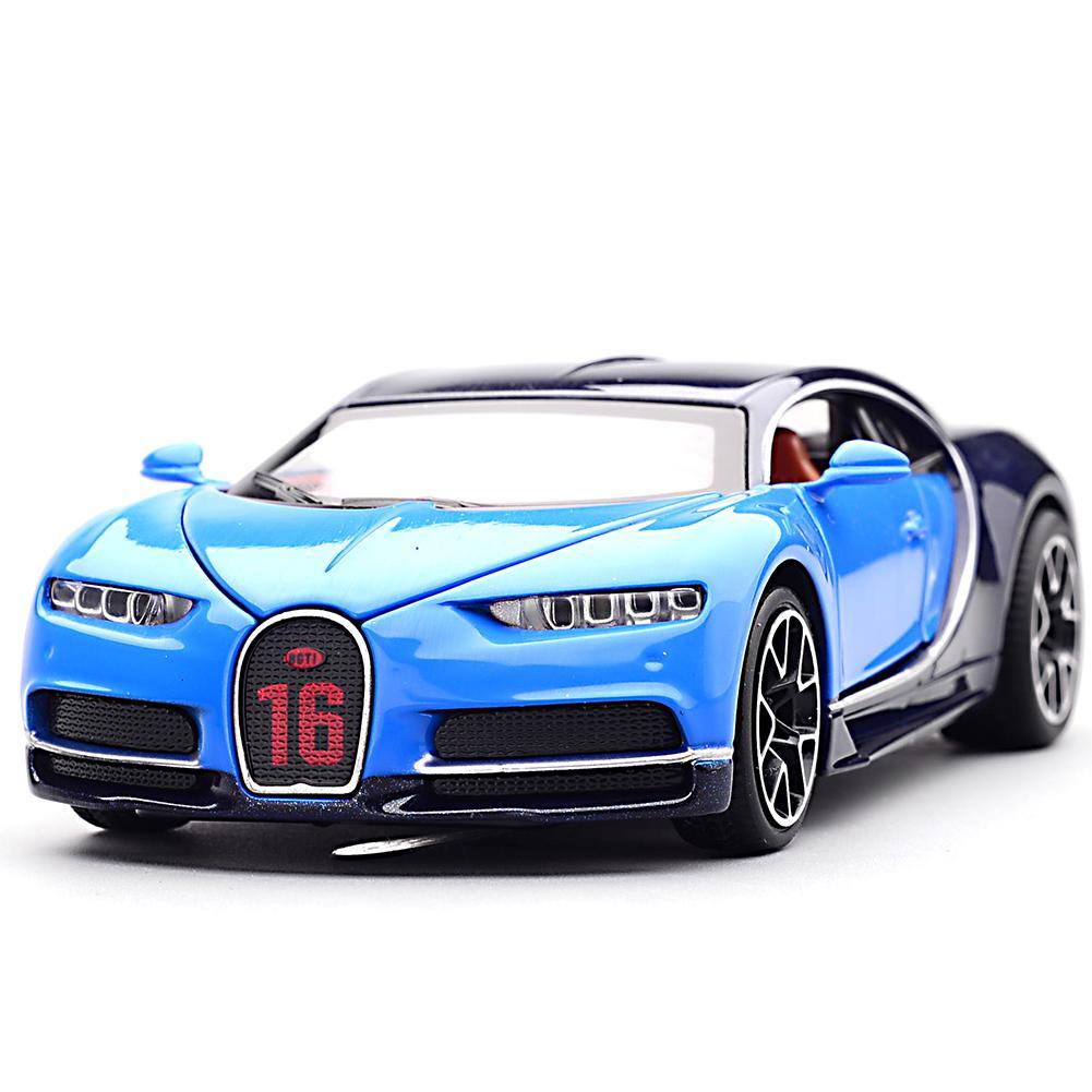 Novo 1:32 Bugatti Chiron Liga de Zinco Pull Back Diecast Coleção Modelo de Carro com Luz & Som