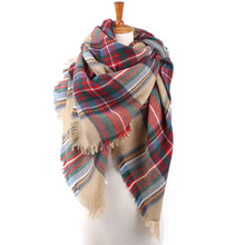 Winter Scarf Women Scarves Large Tartan Scarf Pashmina Warp Shawl Acrylic Black Checked Shawl Plaid Bandana