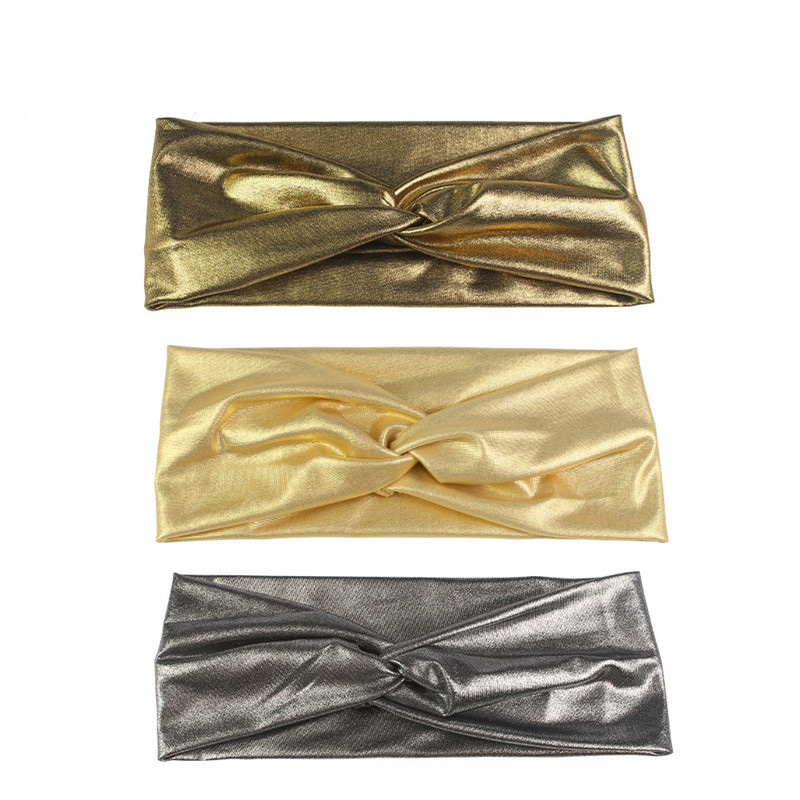 Twisted Cross Bronzing Headband For Women Lady Girls Gold Silver Stretch Bow Hair Band Hair Accessories Headwear