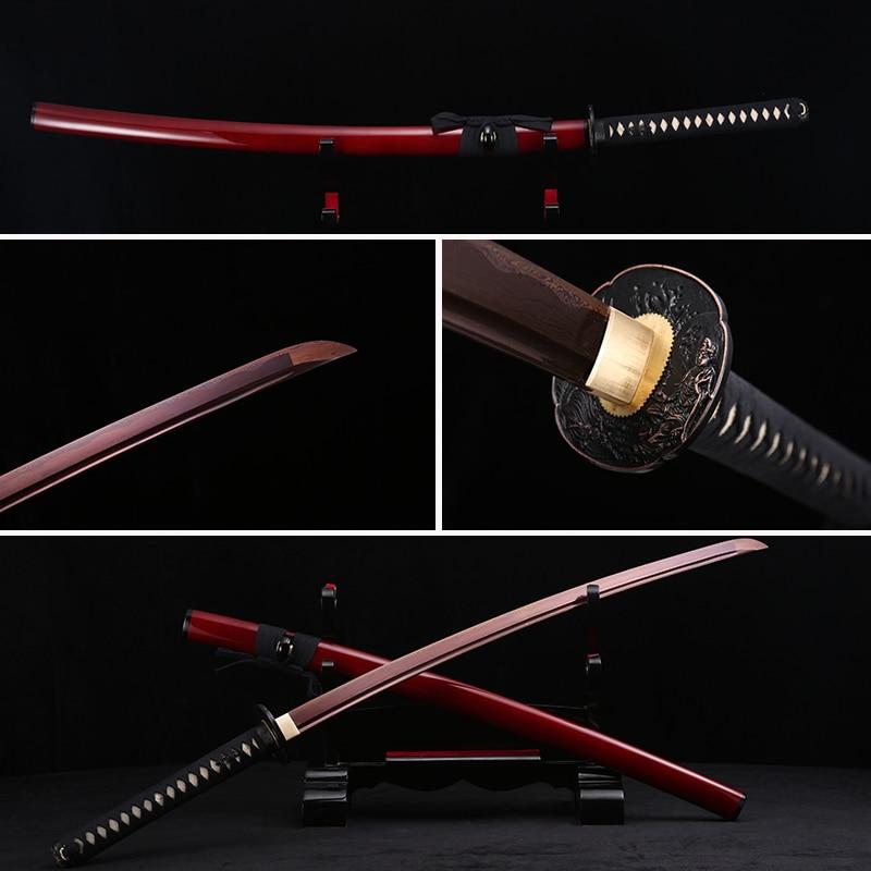 Handmade Full Tang Japanese Katana Red Damascus Folded Steel Real Samurai Sword Sharp Edge Real Fish Leather in Swords from Home Garden
