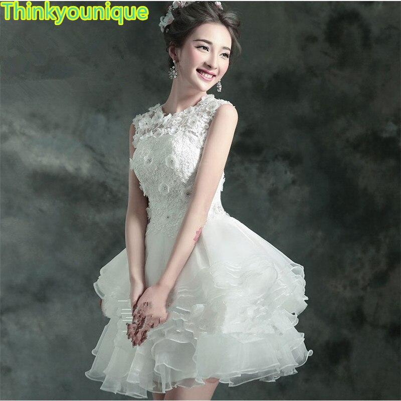 193cf2711 2019 envío gratis blanco cuello redondo corto fiesta vestidos de baile de graduación  vestido traje de