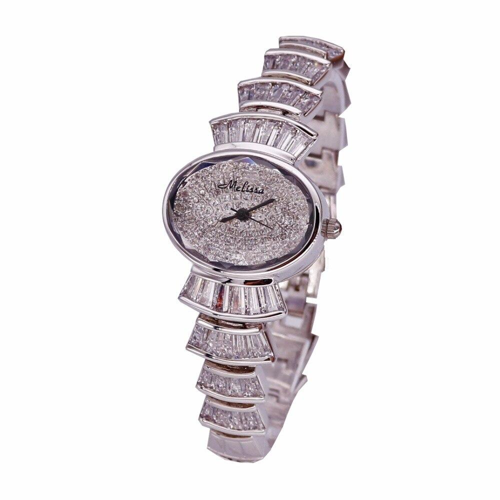 Top Luxury Melissa Lady Women's Watch Elegant Rhinestone Fashion Hours Dress Bracelet Crystal Clock Girl's Birthday Gift Box цена и фото