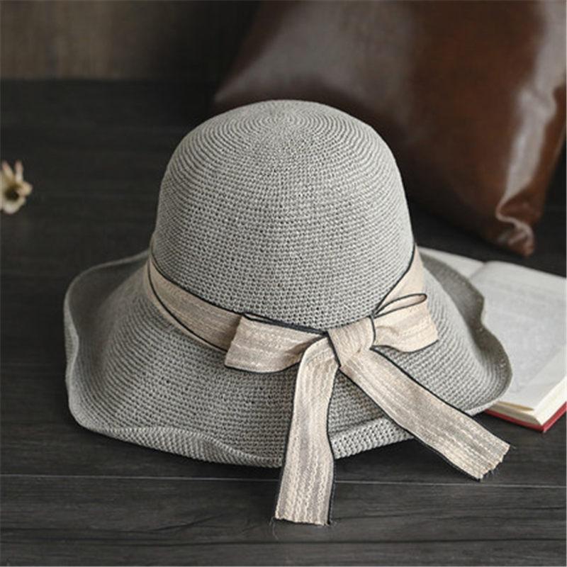 Crochet bel cappello di paglia di estate femminile arco semplice casual pieghevole grande visiera del cappello del sole del cappello pescatore 2 UT
