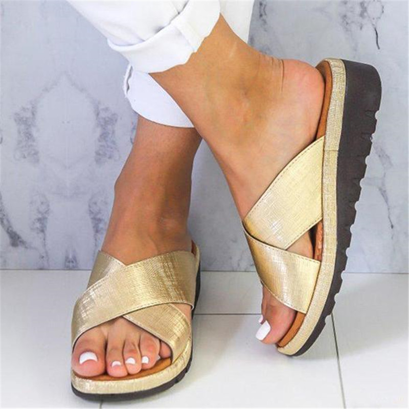 Torridity Slippers Women Leather   Flat Sole Ladies Casual Soft Toe Foot Correction Sandal Orthopedic Bunion Corrector big toe sandal