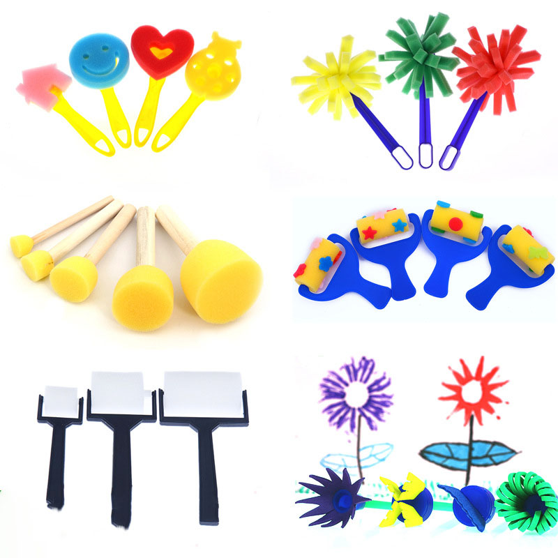 CN/_ 5PCS WOODEN SPONGE PAINTING BRUSHES DIY GRAFFITI TOOLS KIDS EDUCATIONAL TO