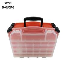 SHOU DIAO Multifunctional High Strength 42*20*35cm Transparent Visible Plastic Fishing Lure Box gear kit