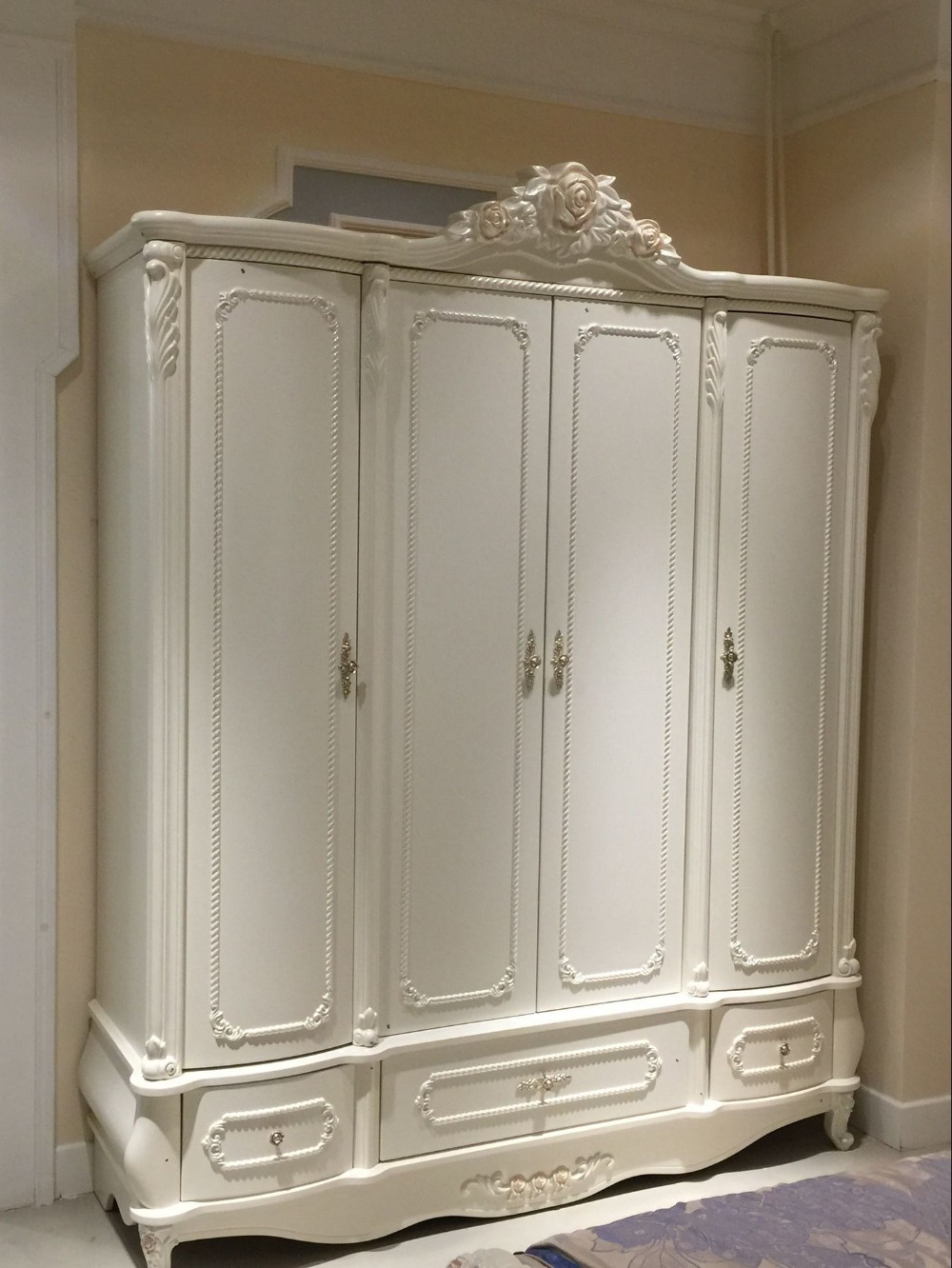 french style 4 door bedroom wardrobe cabinet 0409 8859 in wardrobes from furniture on aliexpress. Black Bedroom Furniture Sets. Home Design Ideas