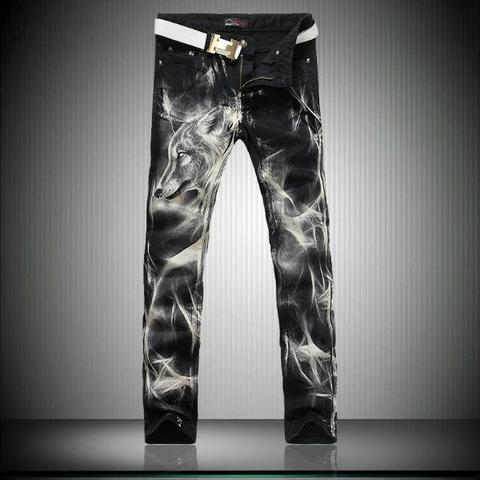 Printed Jeans Singers-Trousers Slim-Fit Stretch Black Big-Size Fashion Mens 28 38 Night-Club