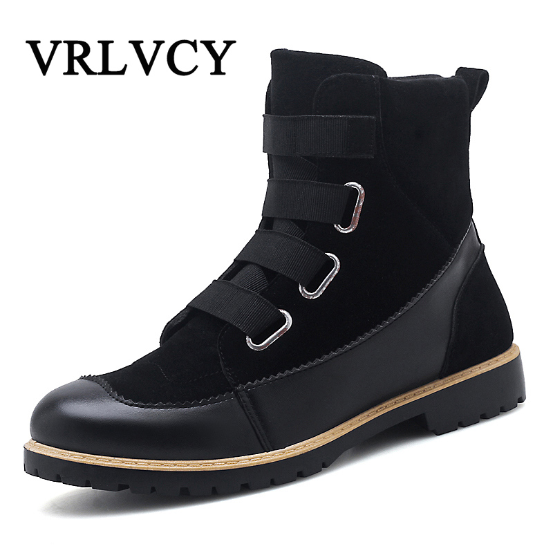 Autumn and winter Tooling shoes new leather Martin boots Comfort and leisure Men's boots Trends in England High-top new trends in argentine and brazilian cinema