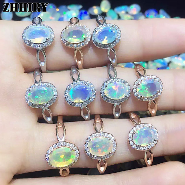 Natural fire Opal stone ring Genuine solid 925 sterling silver woman color gem rings jewelry
