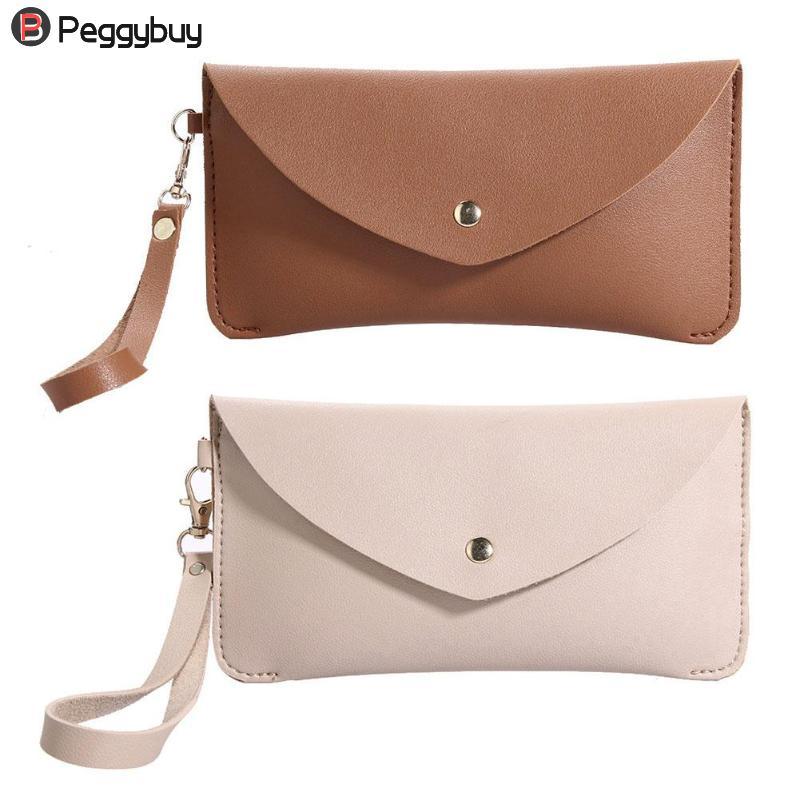 Fashion Long Woman purse Casual Pure Color Women Girls PU Leather Clutch Flap Coin Phone Holder Long Wallet Purse Wristlets